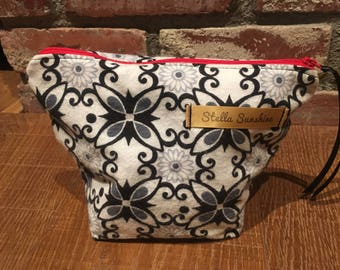 floral vintage style black on white makeup bag, cosmetic pouch, toiletry bag, handmade