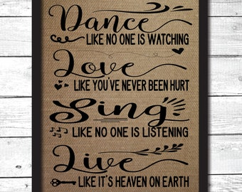 inspirational wall art, inspirational quotes, dance like no one is watching sign, mark twain quote, mark twain art, mark twain print