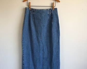 "Vintage Highwaisted Long Denim Skirt, 30"" waist, Size 12 St. John's Bay"