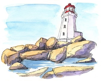 Peggy's Cove Lighthouse, Watercolour and Ink PRINT