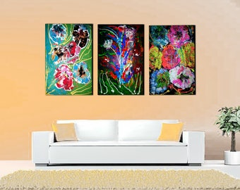 3 Original, hand made, high quality,Flowers-Abstract painting on canvas