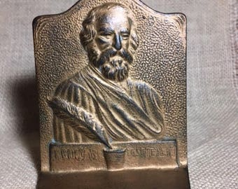 Vintage Cast Iron Henry W. Longfellow Bookend