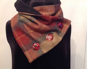 Cashmere and tweed snood neck warmer