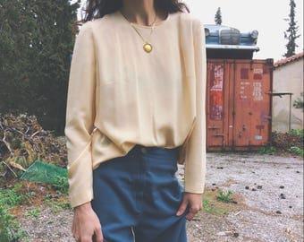 Vintage sheer silk pale peach blouse