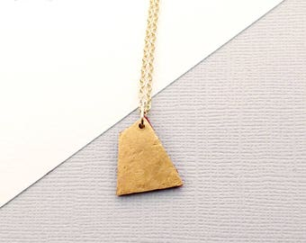 Polygon Shape, Hammered Brass Pendant with maroon colored felt on a 14k gold plated chain - Modern Geometric Artisan-made Boho Necklace