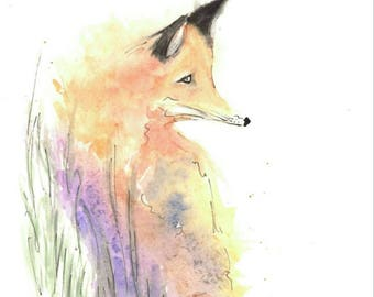 "Watercolour painting of a ""Fox in a Meadow"""