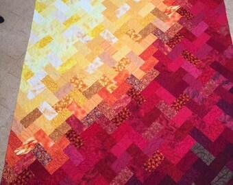 Patchworkdecke ' Sunrise ' red/orange/Yellow