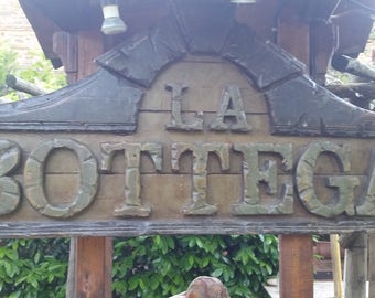 "Solid wood Sign ""La Bottega"""