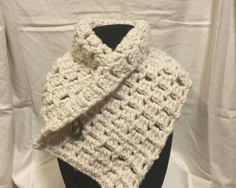 Crocheted Scarf, Cream Cowl
