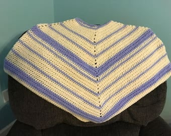 Crocheted purple and white adult XL poncho