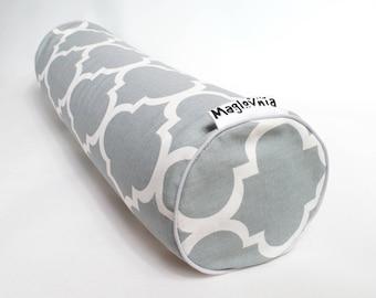 Buckwheat hull bolster pillow, yoga bolster, roll pillow, decorative bolster cushion, buckwheat pillow, gray moroccan clover 18'' x 5''