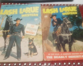 Set of 2  Lash Larue Western #7 Bell Features 1950 CANADIAN EDITION+#16 1951 USA Edition