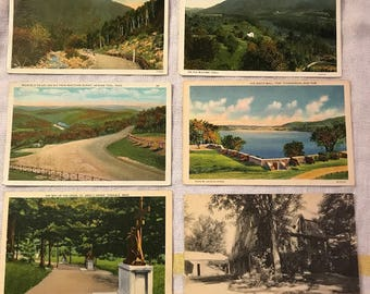 Lot of six vintage postcards, five from Massachusetts, one of Fort Ticonderoga NY.  Circa 1920's