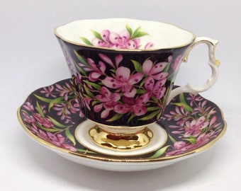 "Vintage Royal Albert Provincial Flowers ""Fireweed"" tea cup and saucer, gentleman size"