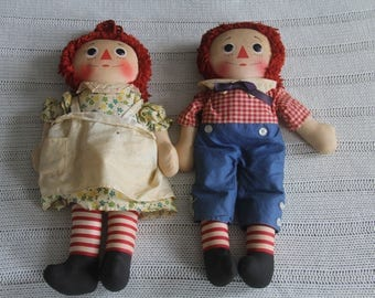 Original, Vintage, Raggedy Ann and Andy Dolls