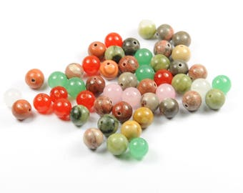 Lot 50 8 mm multicolor gemstones beads