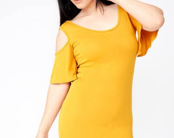 Viscose Cold Shoulder Bodycon Mini Dress