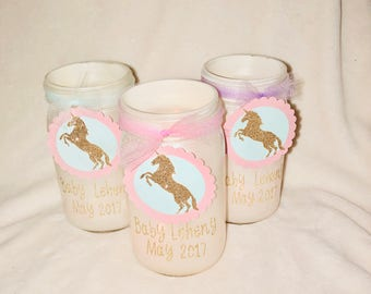 Customizable Unicorn Mason jar Centerpiece