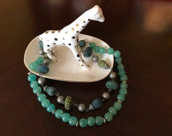 Jade beaded long necklace.