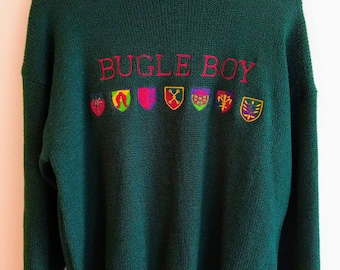VTG Bugle Boy Crewneck Knit Sweater Mens M Embroidered Spell out Streetwear