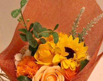 Stunning Orange Soap Flower Bouquet