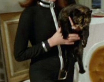 Heavy Ribbed 4- Way Stretch Emma Peel Style Black Catsuit size 10-12 UK Size.