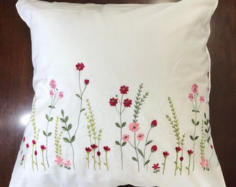 Embroidered cotton pillow cover White cushion pillowcase with red and pink flower; Wedding, birthday, easter, anniversary, housewarming gift