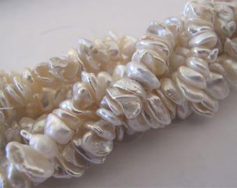 8-10mm Natural White Keishi Freshwater Pearl Beads, Genuine Freshwater Pearls, Cultured Irregular Fun Keishi Nugget Pearl Beads (KWH-094)