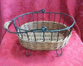 Vintage metal and wicker basket