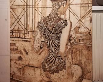 Plywood-burning Brandmalerai hand-made woman