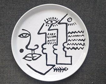 "Stoneware ""Triple Face"" 26 cm plate"