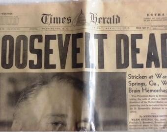 FDR Dead - Original Newspaper  April 13,1945