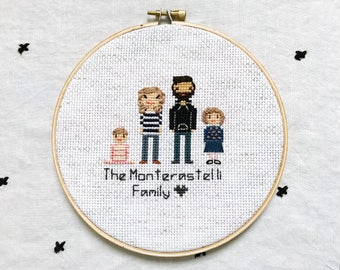Mom Birthday Gift Ideas Cross Stitch Family Mother's Day Portrait Anniversary Gift for Wife or Husband Gift Ideas for Parent Anniversary