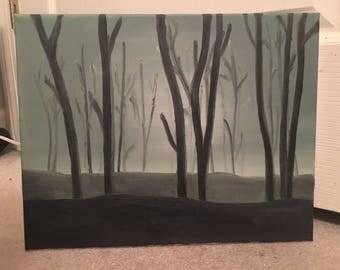 11x14 Dark Wood Canvas Painting