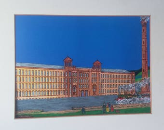 Handmade Limited Edition mixed-media print of Salts Mill, Saltaire, the train watchers, Yorkshire in natural wood effect frame