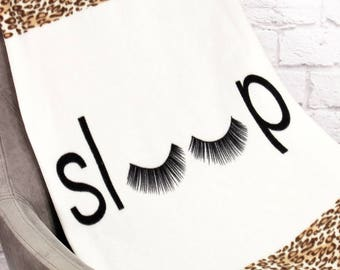 "Leopard print ""sleep"" fleece blanket.  Monogramming Available."