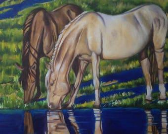 Original Artwork. Horses. River. Wildlife painting.