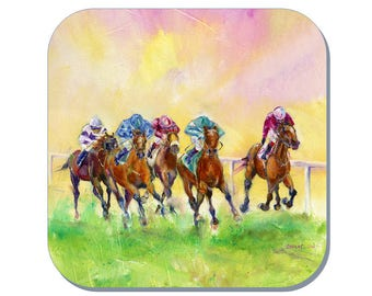 Winning Colour - Horse Racing Coaster, Equine Coaster (Corked Back). From an original Sheila Gill Watercolour Painting