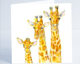 Family Matters - Giraffe Greeting Card - from an original Sheila Gill Watercolour Painting