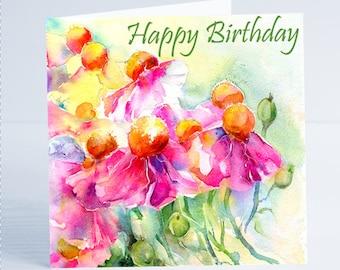 Happy Birthday Pink Tree Poppies Flower Greeting Card