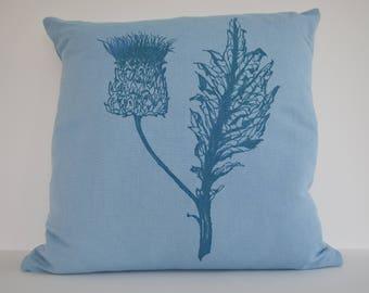 Coastal Blue, Cushion, Linen, Botanical Image