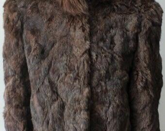VTG 80s Rabbit Fur Cropped Coat size S/M