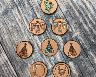 Custom Leather phone socket, Indian, native, cactus, painted, bull, western, teepee, thunderbird, Phone Socket.