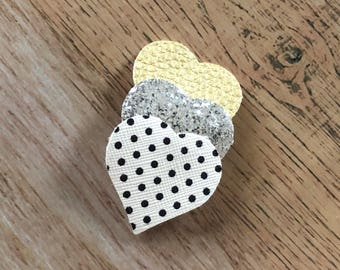 Polka Dot Heart Snap Clip - Faux Leather - Snap Clips - 50mm Clips - 2.5 inches - Chunky Glitter - Hair Bows