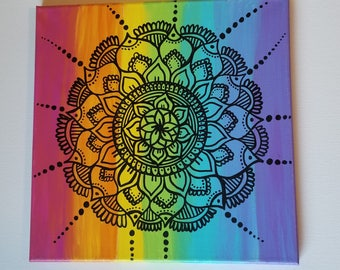 Rainbow Mandala Painting