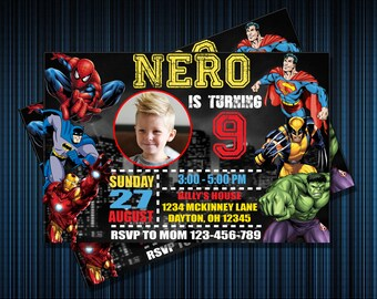 SUPER HEROS INVITATION - Personalized Invitation - Custom Birthday - Printables Invitation - Digital file Download