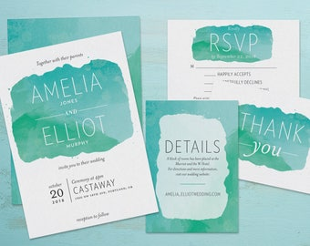 Blue & Green Watercolor Wedding Invitations and Wedding Suite - Customizable Printable Wedding Invitation Kit - Digital Download