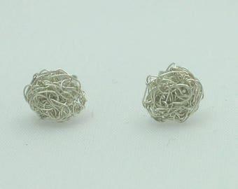 999 Silver studs-fine silver earrings round-crochet-braided-unique-filigree jewelry-Silver earrings