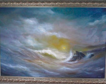 28x40 Original Oil Painting (Ocean Scene)