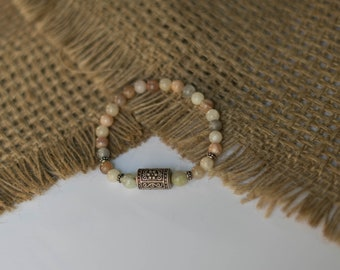 Mixed Agate Beaded Bracelet w/ Metal Charm